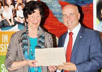 Rachelle Lever received her award from NSW Minister for Education Adrian Piccoli