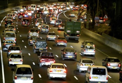 A traffic jam on Israel's Ayalon Highway, near the entrance to Tel Aviv. Credit: Moshe Shai/Flash90.