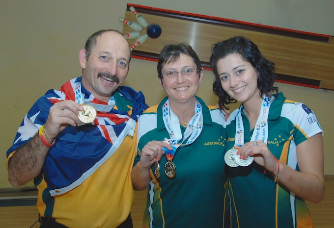Phil, Debbie and Lena Sachs  -  with medals