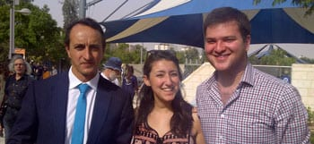 Australian Ambassador to Israel Dave Sharma, AZYC Head of Education Sarah Raymon, AZYC Chair Reuben Bolaffi at the Park of the Australian Soldier, Be'er Sheva