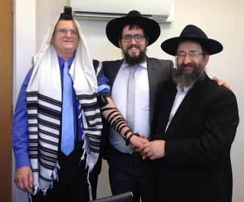 Ambassador Shmuel Ben-Shmuel, Rabbi Shmueli Feldman and Rabbi Mendel Raskin