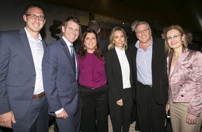 Rabbi Benji Levy, Premier Mike Baird, Judy Lowy, Lauren and Bruce Fink and NSW Attorney-General Gabrielle Upton