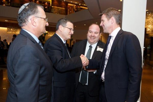 ZCNSW president Richard Balkin, Israeli ambassador Shmuel Ben-Shmuel, NSWJBD president Yail Miller and Premier Mike Baird    photo: Giselle Haber