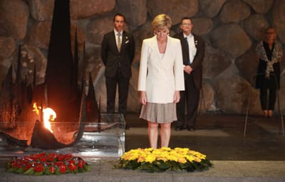 """Julie Bishop visited expressed """"sentiments of deep sorrow and pain."""" In the background are Australia's ambassador to Israel Dave Sharma and Isrel's ambassador to Australia Shmuel Ben-Shmuel Pic: Twitter"""