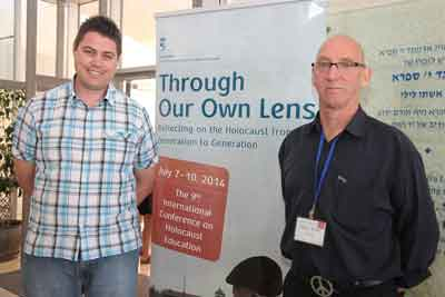 David de Groot and Greg Keith at the Yad Vashem Educators' Conference. (photo by Isaac Harari
