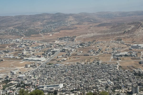 A packed Balata refugee camp in the foreground. Seemingly lots of open space nearby. Photo: Henry Benjamin