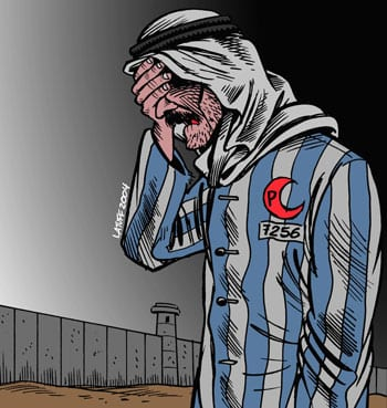 "The cartoon pictured here, titled ""IsraHell's concentration camp,"" won the second-place prize in the Iranian government-sponsored Holocaust cartoon contest in 2006. Credit: Carlos Latuff via Wikimedia Commons."