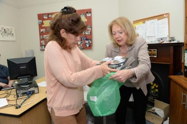Bev Lanesman and Julia Gordon prepare food for distribution    photo: Henry Benjamin