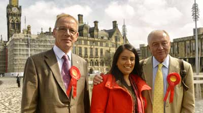 "Naz Shah [centre], who was suspended from the United Kingdom's Labour Party over a Facebook post in which she suggested the ""relocation"" of Israel."