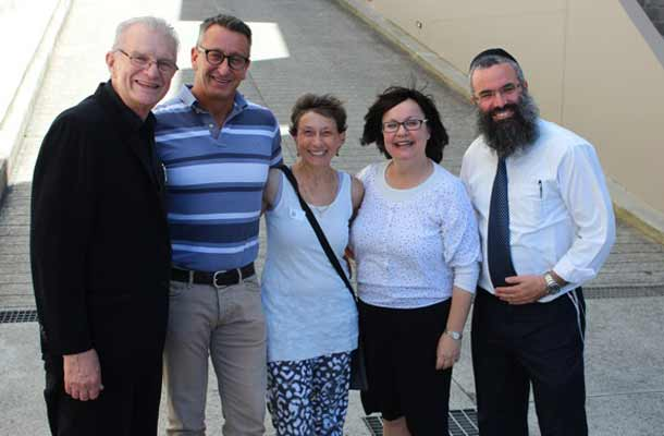 The Rev Bill Crewes, OBK manager Greg Fisher, Ruth, Laya Slavin and Rabbi Dovid Slavin