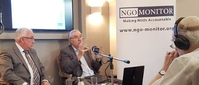 Michael Danby and the NGO Monitor's Ferald Steinberg at the Jerusalem Press Club