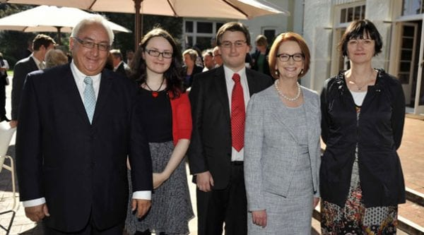 Michael Danby with his children Laura and Byron, Prime Minister Julia Gillard and wife Amanda