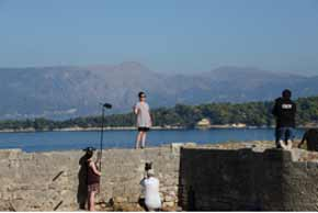 Film crew in Greece