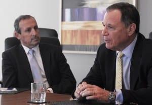 NSWJBD CEO Vic Alhadeff  listens to Ambassador Dan Gellerman
