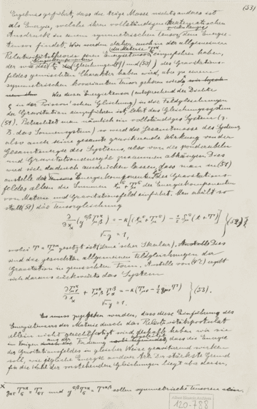 A page from Albert Einstein's General Theory of Relativity, on display at The Albert Einstein Archives at the Hebrew University of Jerusalem.  (Photo credit: Ardon Bar-Hama for The Hebrew University of Jerusalem)