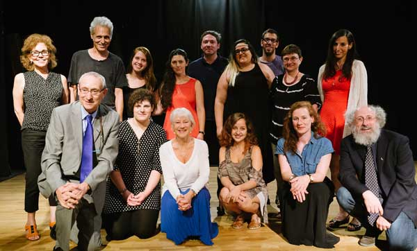Dame Helen Mirren meets with Arab and Jewish students and staff at the Department of Theatre Studies at the Hebrew University of Jerusalem. Also pictured: Chair of the Department of Theatre Studies and Director of the Billy Crystal Program, Dr. Jeanette Malkin (top left); Hebrew University president Prof. Menahem Ben-Sasson (bottom left); and Dean of the Faculty of Humanities, Prof. Dror Wahrman (bottom right).
