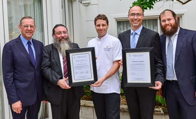 Baron Revelman [K-A], Rabbi Moshe Gutnick, chef Joelle, Intercontinental manager Bruno Falleger and Rabbi Aron Groner