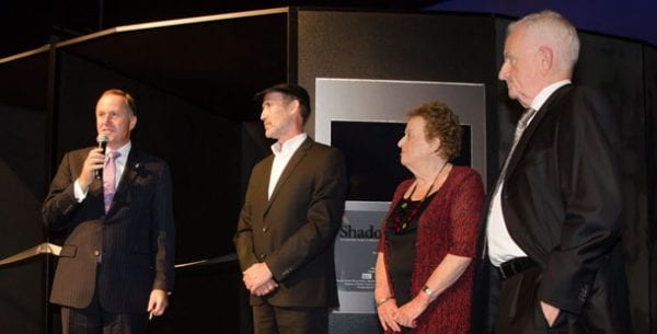 John Key, PM NZ; Perry Trotter, Shadows of Shoah Founder; Inge Woolf, Director Holocaust Centre of NZ; Robert Narev MNZM; Shadows of Shoah Chairman pic: www.shadowsofshoah.com