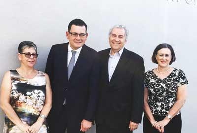 Jennifer Huppert [JCCV], Premier Daniel Andrews, Dr Danny Lamm {ZFA} and Sharene Hambur [Zionism Victoria]