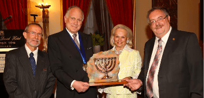 Prof. Joshua Schwartz, Director, Ingeborg Rennert Center for Jerusalem Studies;  Ronald S. Lauder, President, World Jewish Congress; Ingeborg Rennert, founder, Ingeborg Rennert Center for Jerusalem Studies; Rabbi Prof. Daniel Hershkowitz, President, Bar-Ilan University - Photo : Yoni Reif
