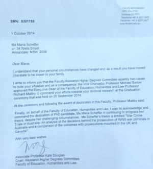 The university letter