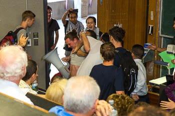 Security deals with protestors
