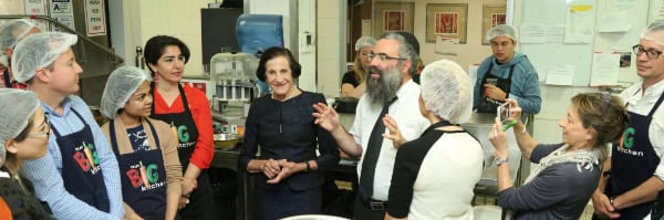 Dame Marie Bashir listens to talk from Rabbi Dovid Slavin