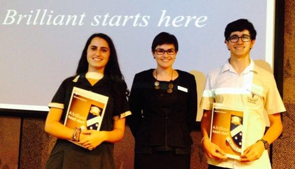 Elana Forbes, Monash Scholars Coordinator Maxine Day, Nimrod Shapir.