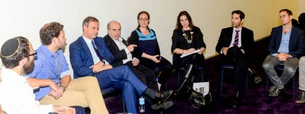 ZFA president Philip Chester on the left of Sharansky as they hold a meeting with young community leaders