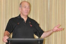 Ehud Olmert speaking in Sydney    Photo: Henry Benjamin/J-Wire
