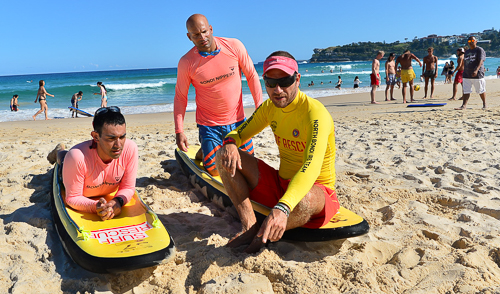 Royi Levi and Barak Davidoviits get a lesson from North Bondi's Doron Milner