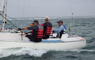 Practising on Port Philip Bay off Melbourne