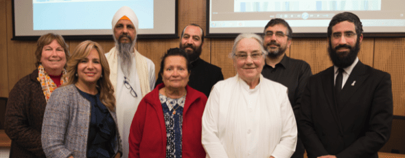 Back row: Helen Heath (City of Greater Dandenong Interfaith Network), Jasbir Singh Suropada (Sikh Interfaith Council of Victoria), Fr Jean Mawal (Antiochian Orthodox Church of St Pauls), Suleyman Sahingoz (Emir Sultan Mosque) Front row: Sheiny New, Ursula Aruma (Sathya Sai), Jacqueline Russell (Brahma Kumaris Centre for Spiritual Learning), Rabbi Glasman