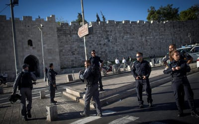 Israeli security forces at the scene of a stabbing attack at Herod's Gate in Jerusalem on Sept. 19. A Palestinian stabbed two policemen before being shot by police. Credit: Yotan Sindel/Flash90.