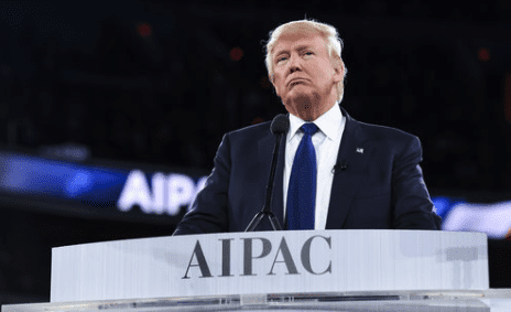 Republican nominee Donald Trump addressing the American Israel Public Affairs Committee (AIPAC) conference earlier this year. Credit: AIPAC.