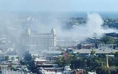 Smoke billows from the scene of the fire   Photo: Facebook