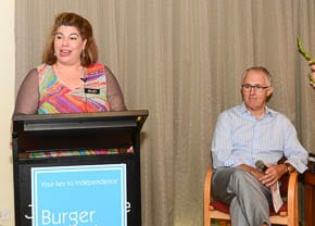 Burger Centre Manager Suzi Parker with Malcolm Turnbull
