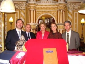 l-r Rabbi Jeremy Lawrence, Jake Selinger,Ros Fischl, Judith Fergin, Alexei Krai