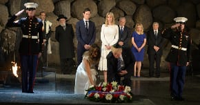 President Trump lays a wreath at Yad Vashem