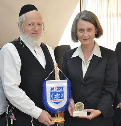 ZAKA Chairman and Founder Yehuda Meshi-Zahav with Australian Ambassador to Israel Andrea Faulkner   Photo: ZAKA