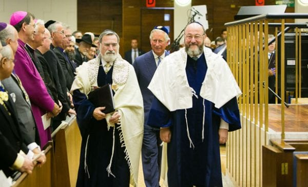 Former Chief Rabbi Lord Sacks, HRH Prince Charles, Chief Rabbi Mirvis    photo:Yakir Zur