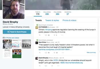 David Brophy supports BDS