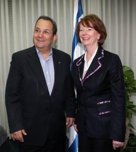 Israeli Defence Minister Ehud Barak with Julia Gillard