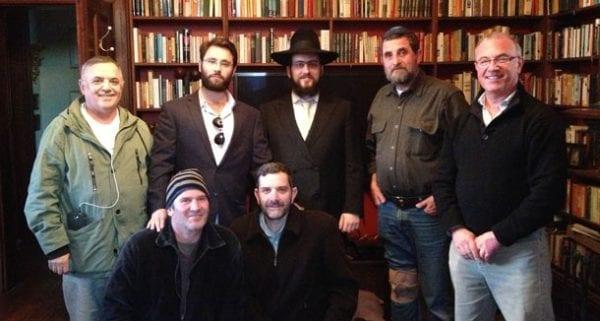 "Rabbi Shmueli Feldman and Goulburn locas celebrating the Barmitzvah. The 63-yr-old ""Barmitzva boy"" has requested anonymity"