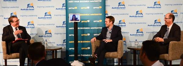 Mike Smith, Marita Cheng on screen, Wyatt Roy and Avi Hasson Photo: Henry Benjamin