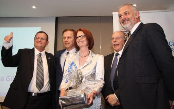 Ambassador-designate Shmuel Ben-Shmuel. Philip Chester, Julia Gillard, Mark Leibler and Sam Tatarka  Photo: STeve Yarrow