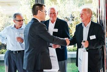 Bill Appleby, Jewish Care CEO, thanks the trustees of Jakob Frenkiel estate Richard Greenfield and Emilio Bortignon