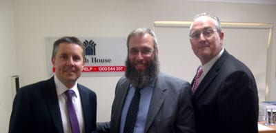 Mark Butler, Rabbi Mendel Kastel and Walt Secord