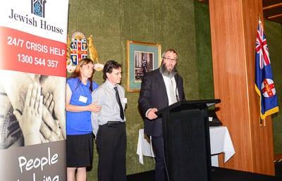 Teresa, Shane and Rabbi Mendel Kastel