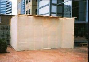 A sukkah erected in Lonsdale St Melbourne